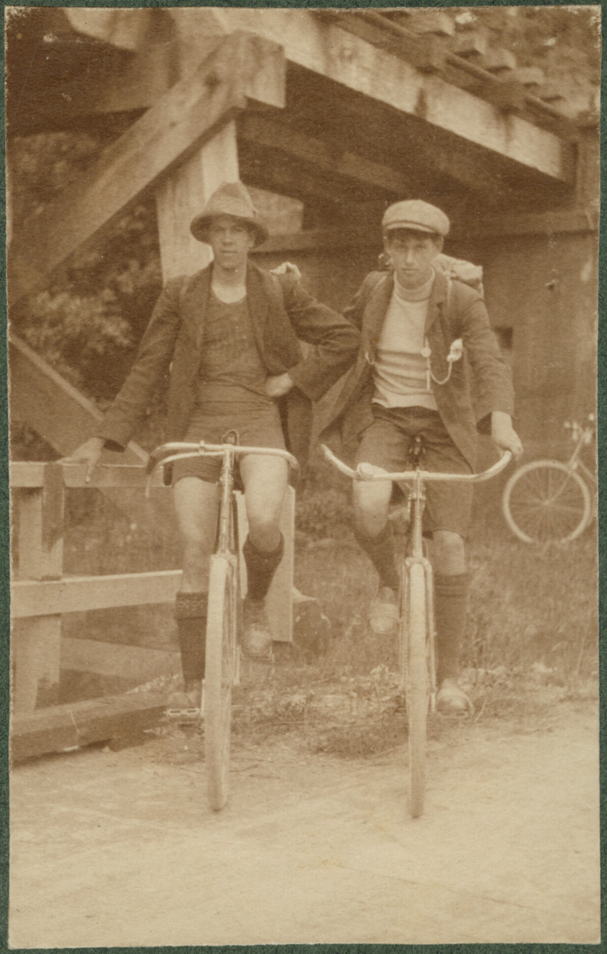 Two cyclists. 1900s. Christchurch City Libraries Photo Hunt. In copyright. CCL-PH19-0040