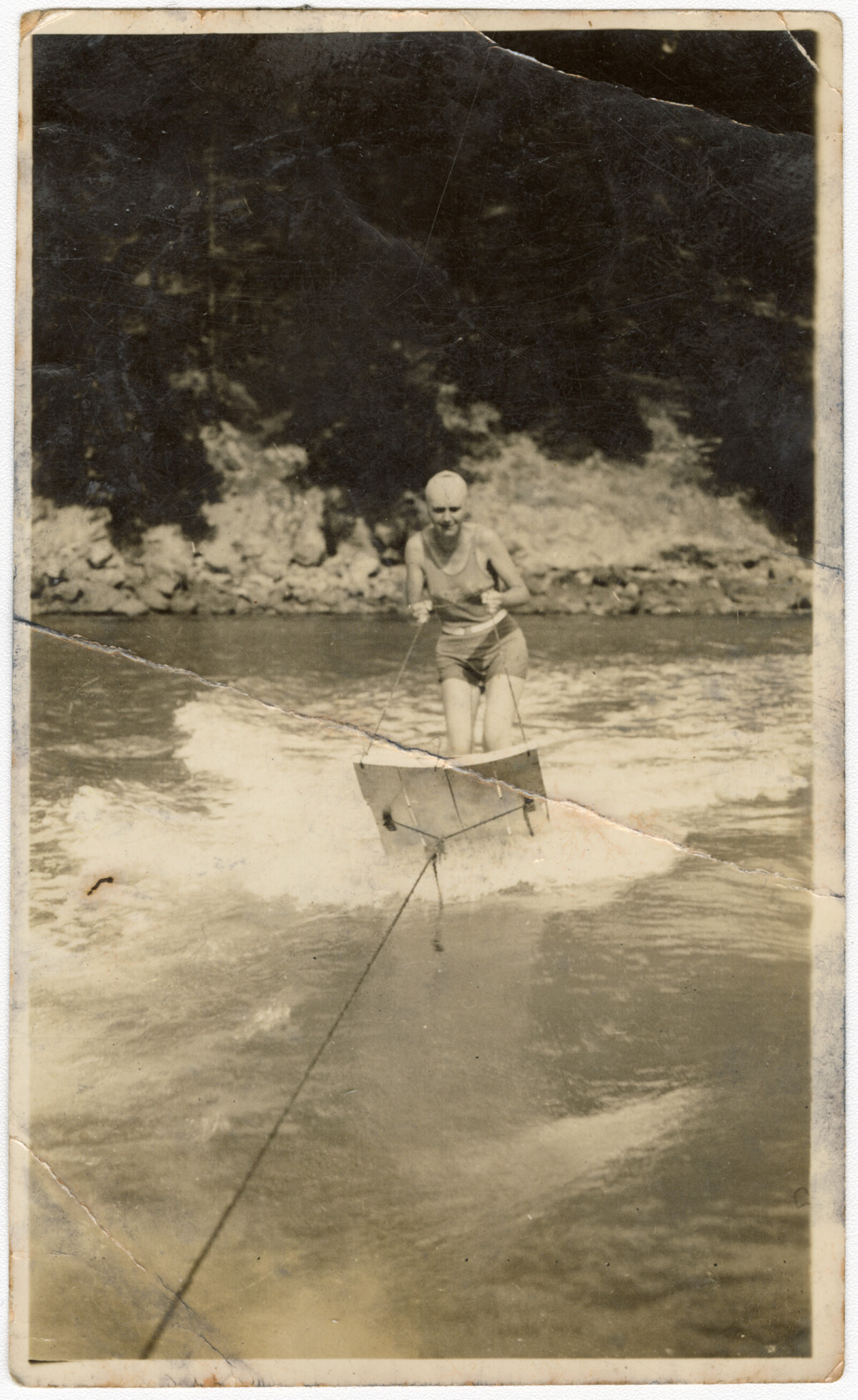 Waterskiing at Taylors Mistake. 1928. Christchurch City Libraries Photo Hunt. In copyright. CCL-PH19-0131