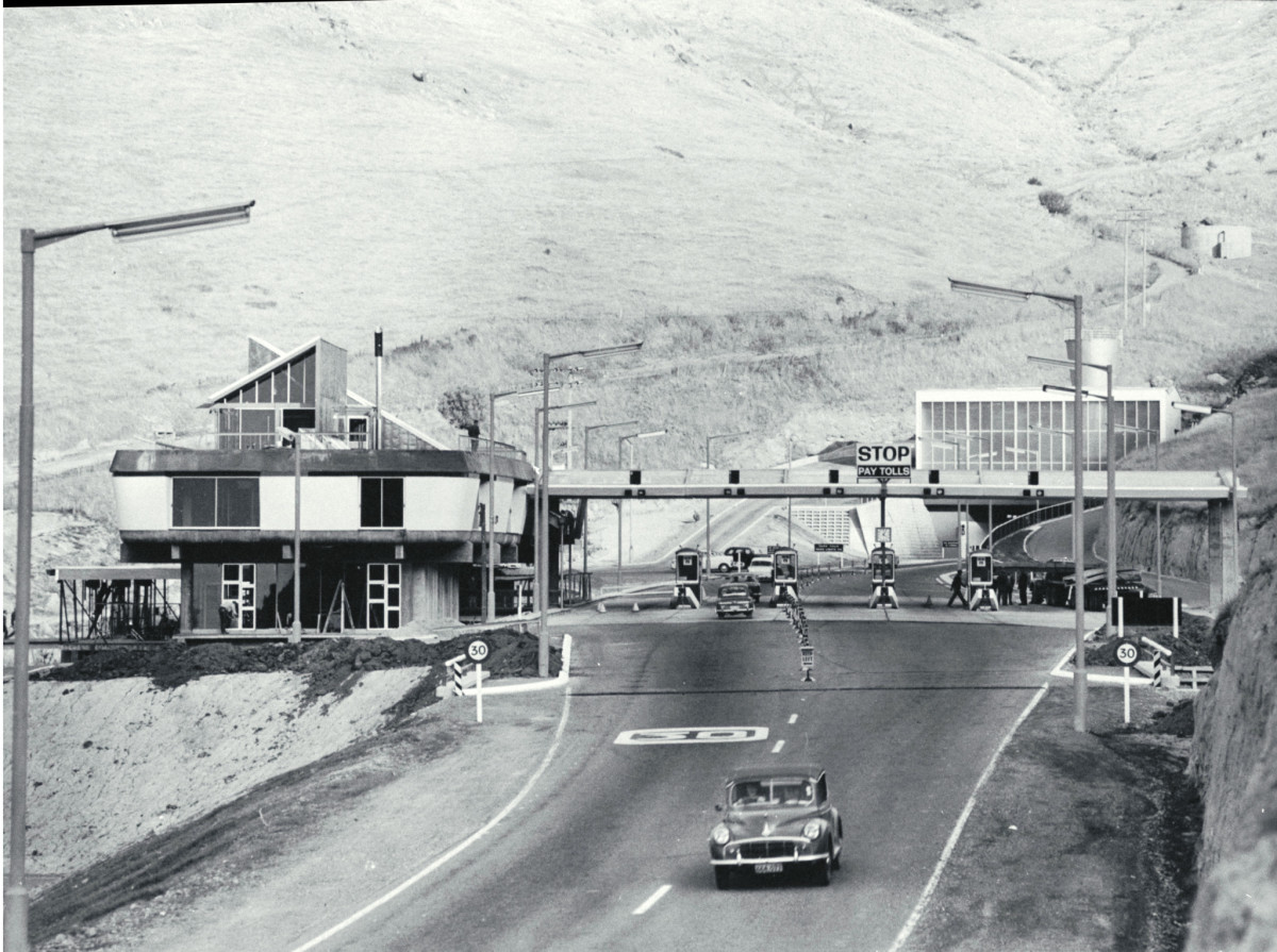 Administration building and portal of the Road Tunnel, 1964.