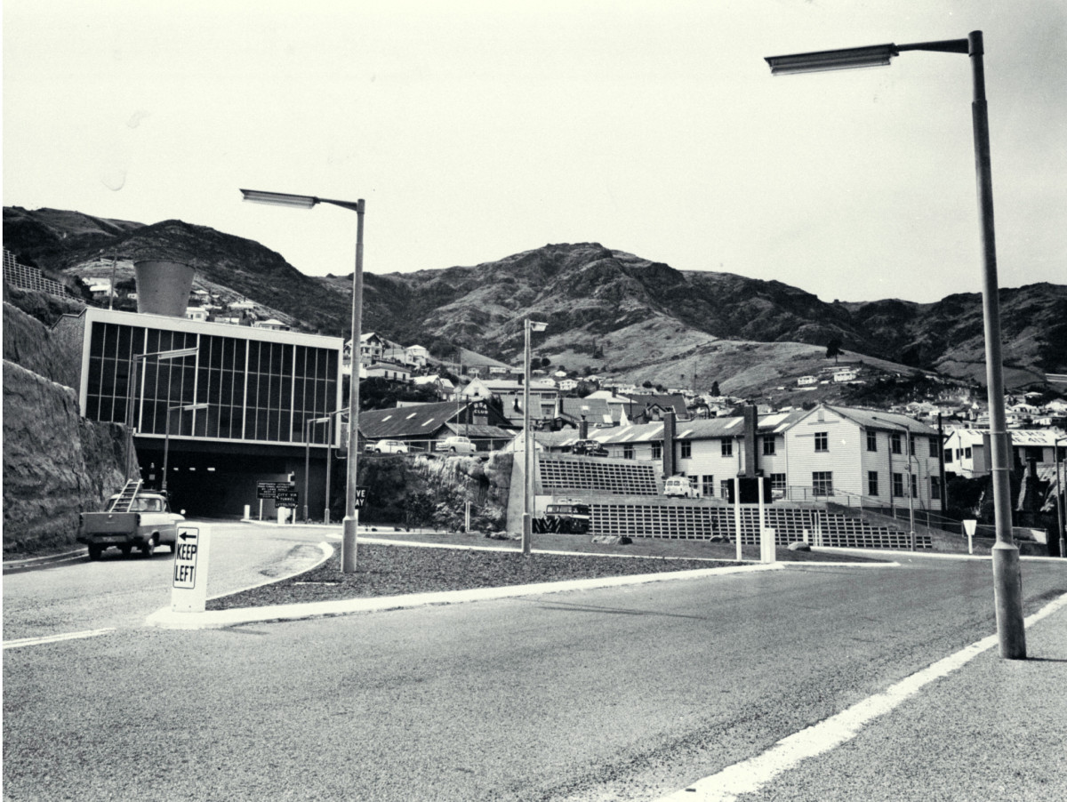 Lyttelton portal to the road tunnel to Christchurch, March 1964.