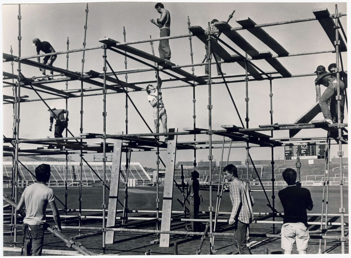 Scaffolding for Dire Straits concert at Lancaster Park. 5 March 1986. Christchurch Star archive. In copyright. CCL-StarP-01958A