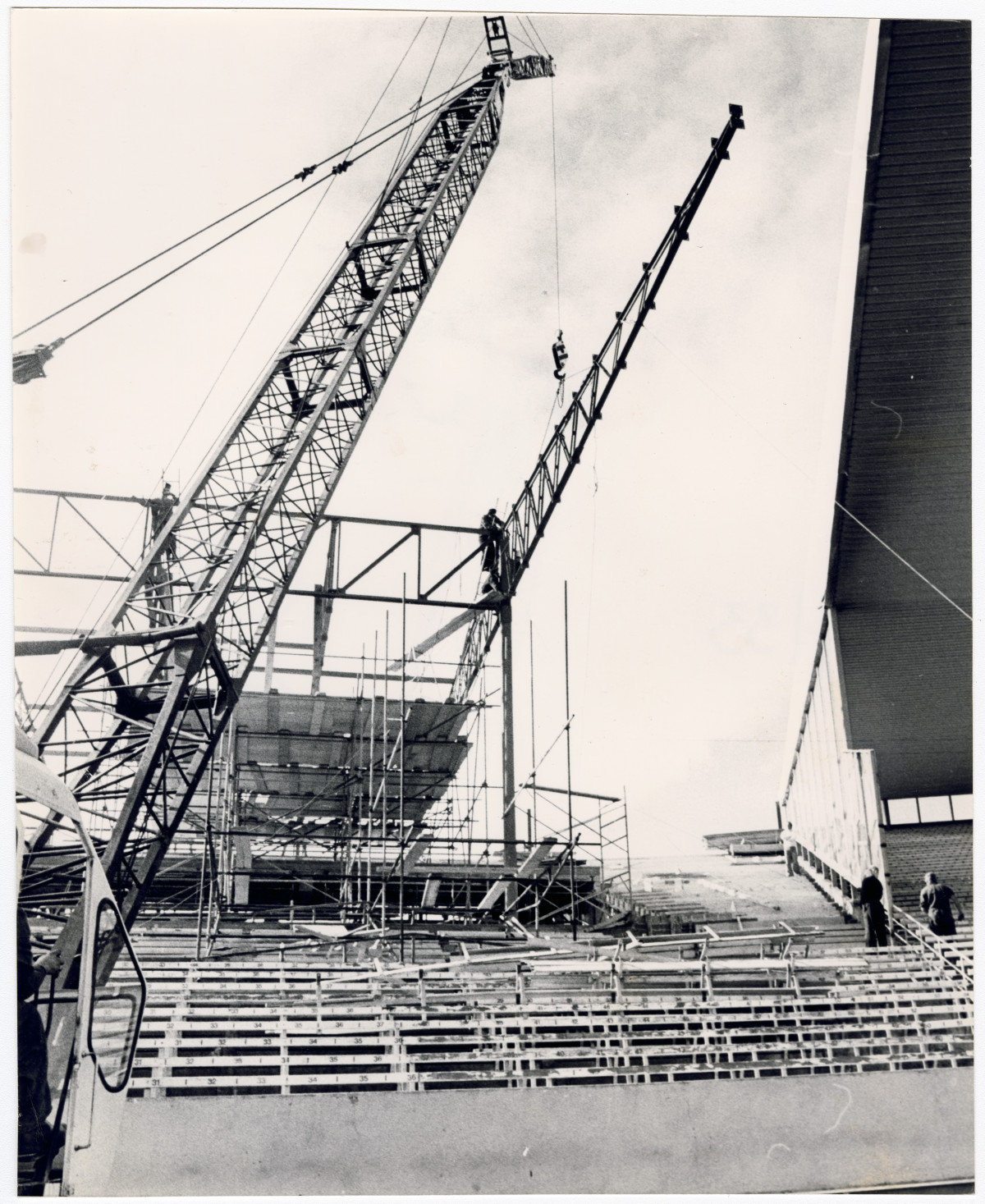 Rebuild of No. 2 stand at Lancaster Park 2 May 1977. Christchurch Star archive. In copyright.CCL-StarP-01961A