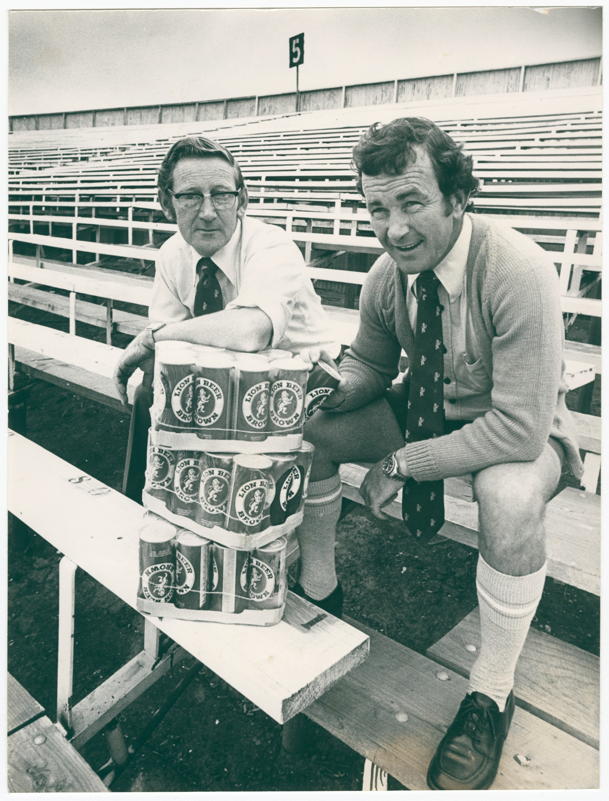 Bill Rees and Paddy Brandon at Lancaster Park no. 5 stadium. 1 February 1979. Christchurch Star archive. In copyright. CCL-StarP-01967A