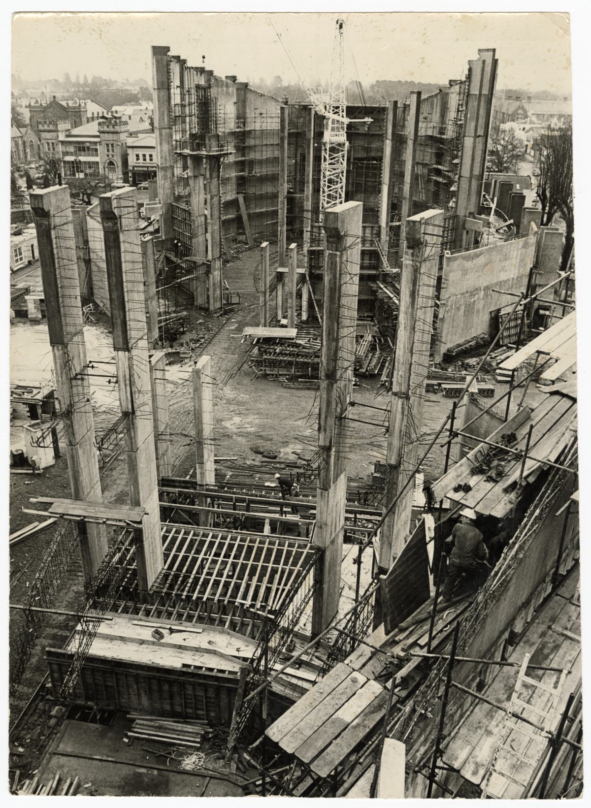 Western view of Town Hall construction. 20 August 1970. Christchurch Star archive. In copyright. CCL-StarP-02789A https://discoverywall.nz/media/65941