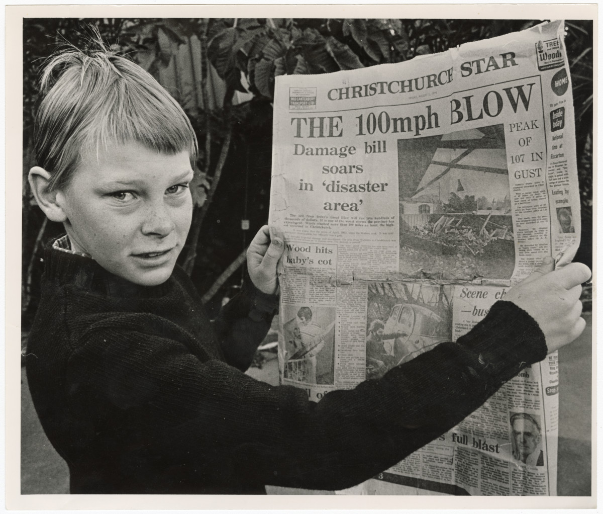 Cameron Romeril with an article on the Big Blow storm. 3 August 1985. Christchurch Star archive. In copyright. CCL-StarP-02897A https://discoverywall.nz/album/1342/69971
