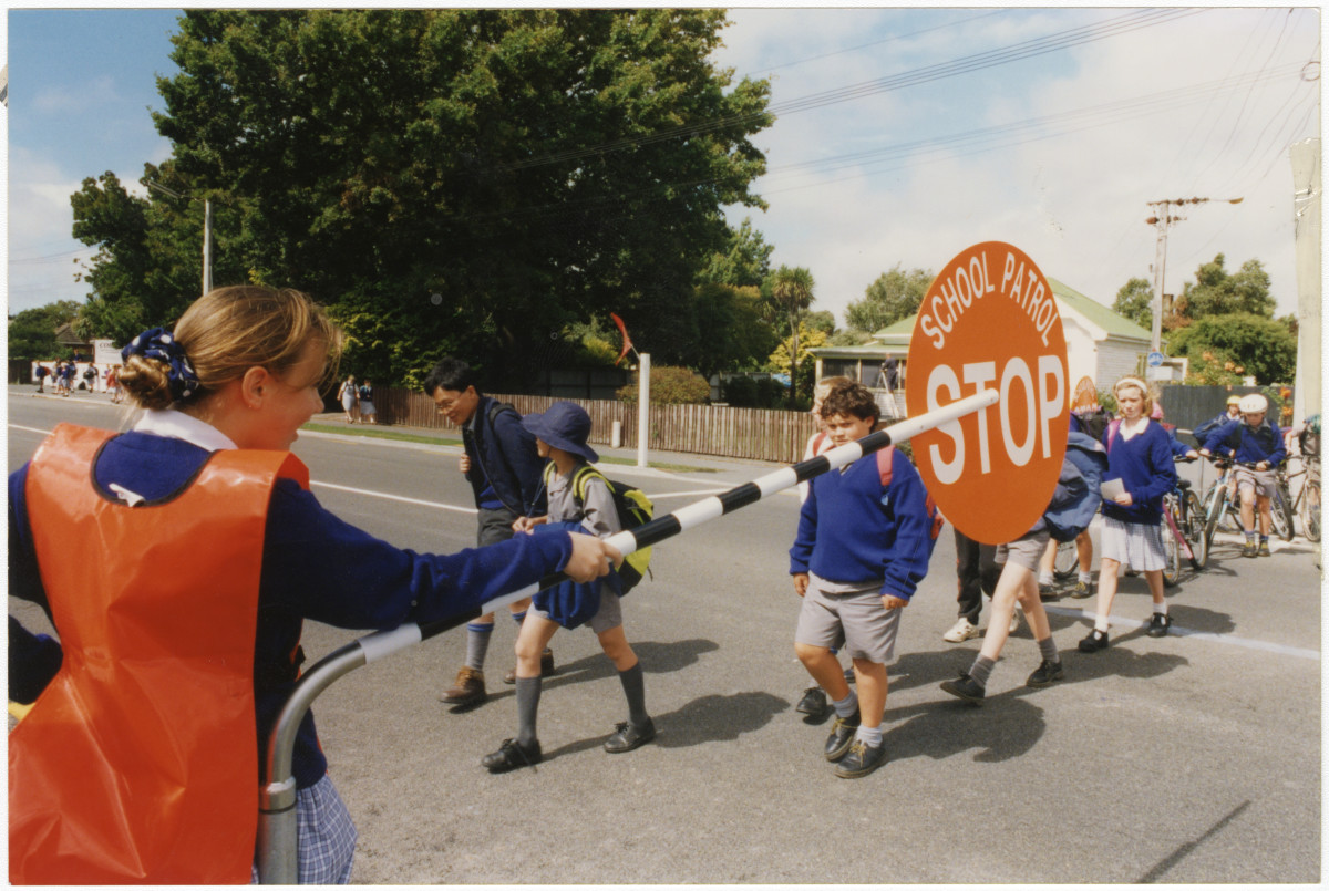Road safety outside Shirley School | discoverywall nz