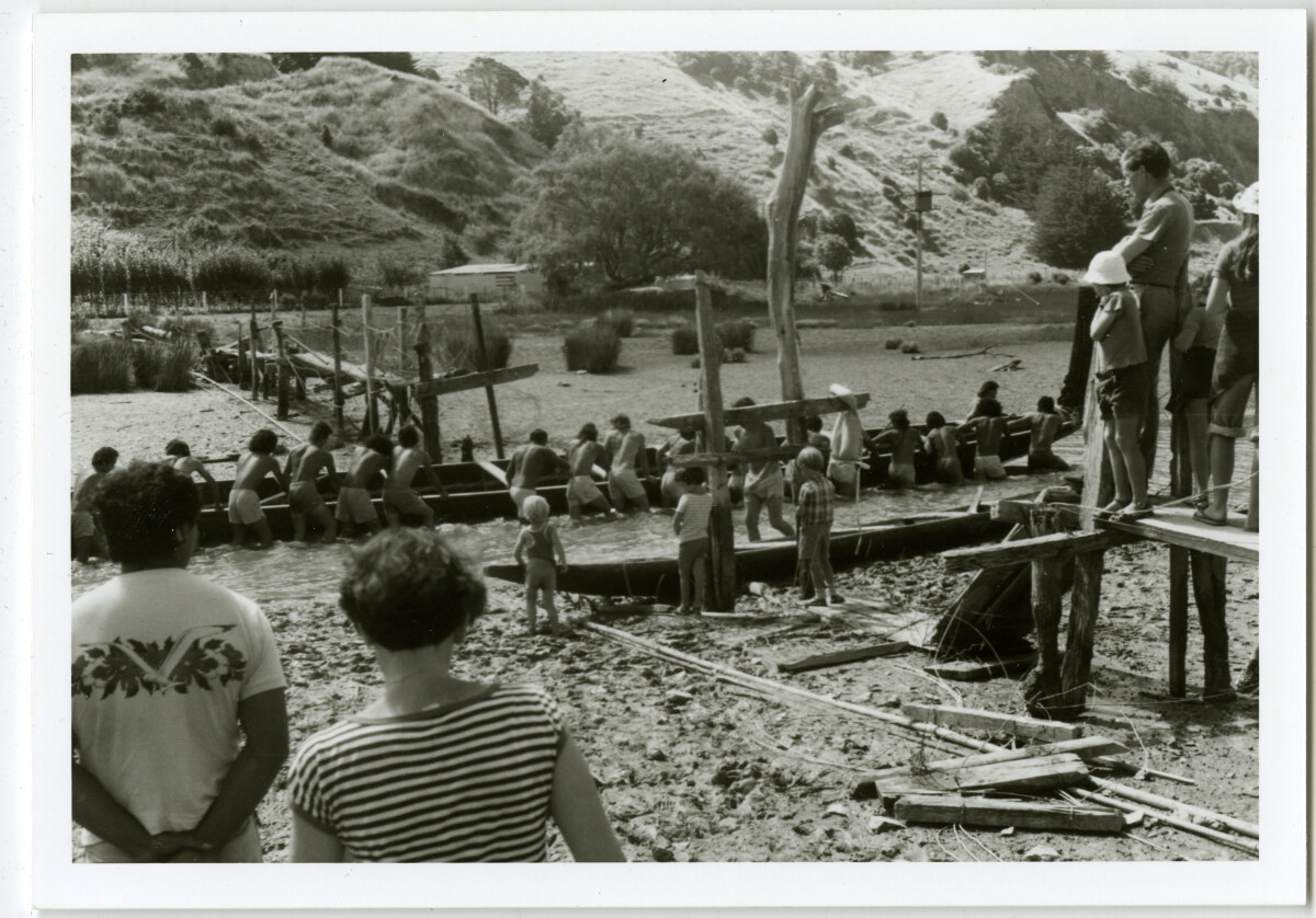 Waka launch, Waitangi Day, Okain's Bay